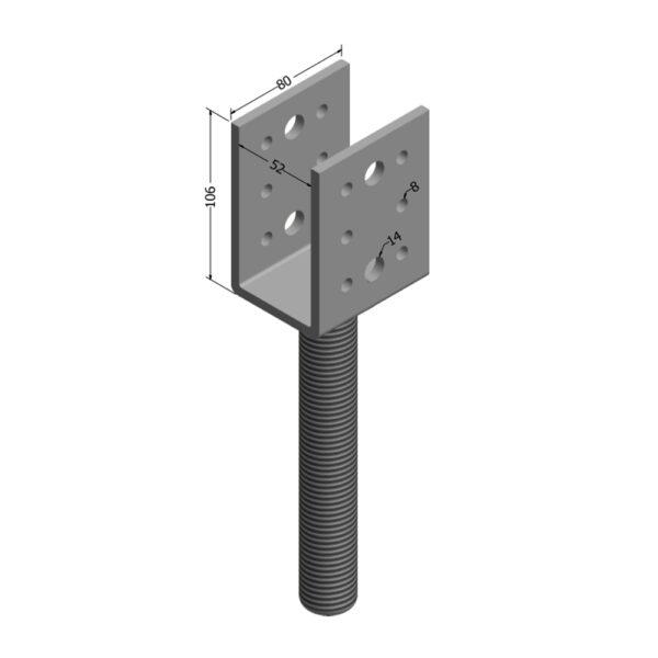 Stirrup-50mm Adjustable House Stump Top LevelMaster Australia